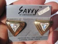 Savvy by Swarovski, Gold-Tone Full Lead Crystal Pierced Earrings!