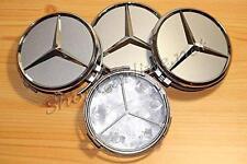 4 x Chrome Centre Caps 75mm to fit Mercedes Benz