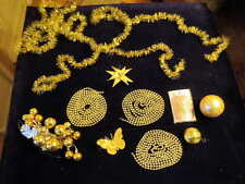 Vtg all Gold Ornament Christmas Tree Gift Decoration Lot some Mercury Glass Yc69