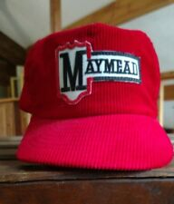 Vintage Maymead red hat mountain city Tennessee corderoy trucker Smokey mountain