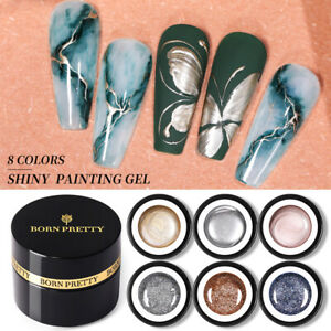 BORN PRETTY Metallic Painting Gel Nail Polish Gold Silver Liner Mirror UV Gel