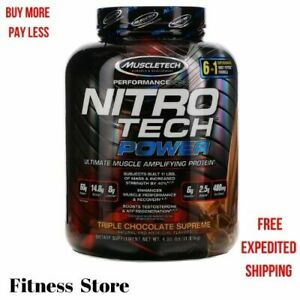 Muscletech Nitro Tech Power Ultimate Muscle Whey Protein Powder Chocolate 4 lb