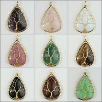 Natural Amethyst Obsidian Teardrop Gold Wire Tree of Life Pendant for Necklace