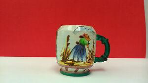 Jug Of Ceramic Italian, Art Nouveau Graceful Fairly Like Enamel And Mug A Hand