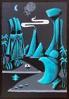 Clee Sobieski PRINT Tiki Tropical Moai Sci-Fi Outer Space SW UFO Futuristic