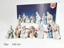 Set natività personaggi statue presepe presepio 10pz statuine cm20 remagi chiaro
