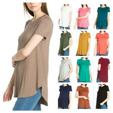 USA Women Scoop Neck Short Sleeve Scallop Round Hem Knit Tunic Top T-Shirts S~XL