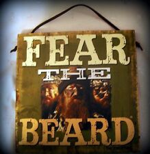 """Nwt Wall Plaque of Duck Dynasty, """"Fear the Beard"""", Suede Hanger, 8"""" Square"""