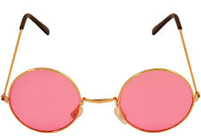 Round Sun Glasses Shades Pink Lenses Lennon Ozzy 60 70s Hippy Hippie Fancy Dress