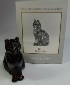Vintage Franklin Mint Curio Cabinet Cats Collection Ruby Glass