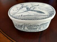 Scrimshaw Oval Trinket Box birds ships seaside scenes Vintage Signed KOVAGO 1988