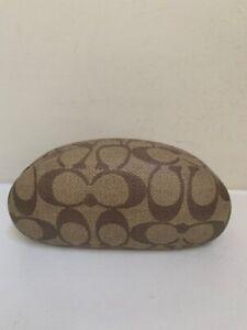 New COACH Eyeglasses Case Signature PVC  Khaki & Brown Large