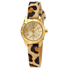 Guess Gold-tone Dial Ladies Leather Watch W0341L1