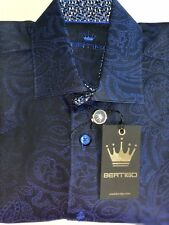 NEW $189 BERTIGO men's Medium dress shirt navy blue paisley long sleeve