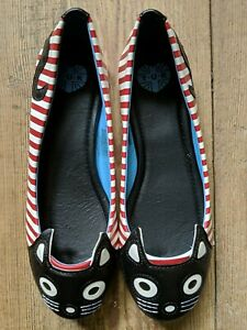 TUK Cat Flats Shoes Size 7 New Without Box Women's Cute Red White Stripes Kitty