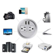 "Table Desktop Power Grommet Outlet US Plugs 2 USB Ports Charger 3"" Inch (SILVER)"