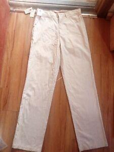 Leonardo Men's Light Beige Stripped Trousers Size 32