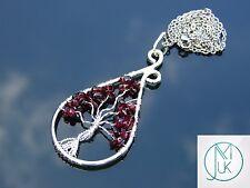 Handmade Garnet Tree of Life Natural Gemstone Pendant Necklace 50cm Healing