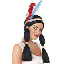 Da Donna Indiano Parrucca Principessa lungo i PIUME Cerchietto Costume Pocahontas