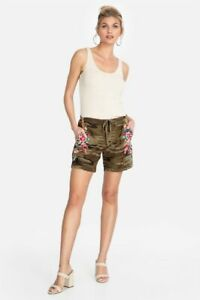 Johnny was Imani molly camo enbroidered linen shorts are large