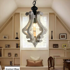 RETRO VINTAGE HANGING PENDANT WOOD CEILING LIGHT DECOR FIXTURE CHANDELIER LAMP