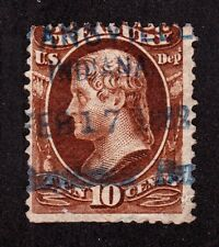 US O77 10c Treasury Department Used w/ Evansville, Indiana Box Fancy Cancel