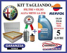 KIT TAGLIANDO FILTRI ALFA MITO 1.6 JTD + OLIO REPSOL 5W40 5LT