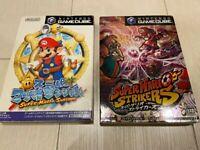 Super mario sunshine &Strikers, with box and manual, Nintendo Gamecube NGC Japan