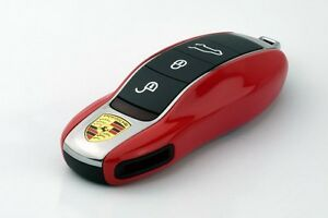 PORSCHE Red Remote Key Cover Case Skin Shell Cap Fob Protection Hull Trim 991