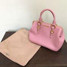 Authentic MIU MIU Light Pink Leather Bowler Handbag Purse