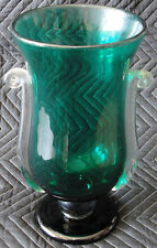 Rare Correia Art Glass Extra Large Tall Emerald Green Handled Vase Prototype