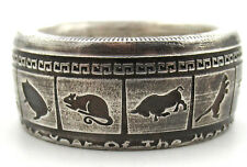 Chinese Zodiac coin ring. Made from pure .999 Silver coin. Good luck ring