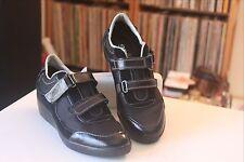 Geox D4235B Respira Black Two Strap Fashion Sneakers Women's Sz 5.5-6