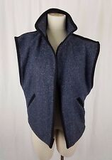 Sleeveless Mottled Flecked Wool Tweed Open Front Vest Womens 11 12 80s 90s Baggy
