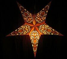 "24"" Orange Garnesh Paper Star Hanging Lantern Lamp (Light Cord Is Included)  #7"