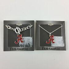 Alabama Crimson Tide Set Silver Bracelet Necklace Logo Script A Costume Jewelry
