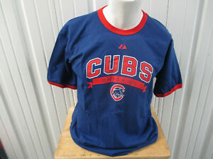 VINTAGE MAJESTIC CHICAGO CUBS LOGO LARGE CREWNECK BLUE RED SHIRT NEW W/ TAGS