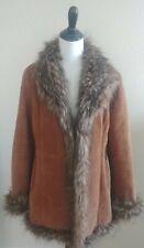 Womens Jacket Coat Wilsons Leather Pelle Studio Size Large Brown Faux Fur Lined