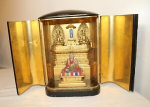 LARGE Antique 1800s Japanese Wood Zushi Buddha Shrine Temple sculpture alter