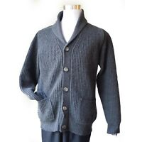 UOMO FIRENZE Men size M Wool Cardigan Shawl Collar Gray Made in ITALY