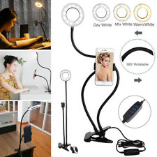 Selfie Flash Ring Light + Mobile Phone Holder 24 LED Camera Long Arm USB Clip On