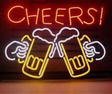 "Cheers Beer Lager Pub Open Beer Bed Glass Art Bar POSTER NEON LIGHT SIGN 14""X13"""