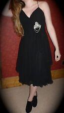 Womens Ladies Dress Black Silk Chiffon Formal Party Cocktail Size 12