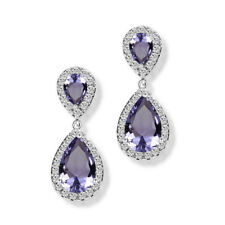 Women White Gold Filled Hoop Drop Dangle Amethyst Gems Earrings Wedding Jewelry