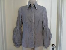 Womens BEBE Navy White Pinstriped Blouse Shirt Button Puffed Sleeves Cotton S
