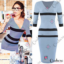 Women's Striped Cotton Blend Knee Length Stretch, Bodycon Dresses