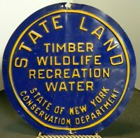 "Vintage New York State Timber Wildlife Recreation Water State Land 8"" Tin Sign"