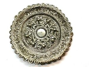Lovely Antique Anglo Indian Solid Silver Repousse Pin Dish 9.5cm 40.5 grams