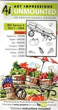 New ART IMPRESSIONS RUBBER STAMP Cling Watercolor Series 3 set 1 veggie cart aut