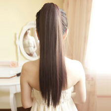 Clip In Ponytail Pony Tail Hair Extension Wrap On Hair Piece Straight